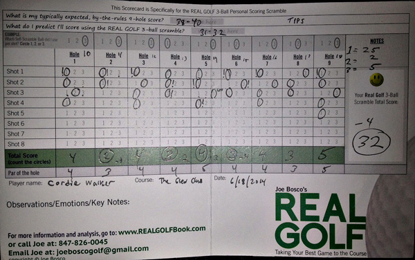 Real Golf Scorecard